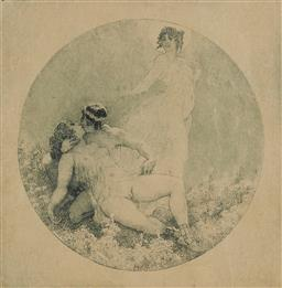 Sale 9178 - Lot 567 - NORMAN LINDSAY (1879 - 1969) etching and stipple 7.7 x 7.7 cm edition of 70 [unpublished] Dying, 1924 etching and stipple 9 x 9 cm (...