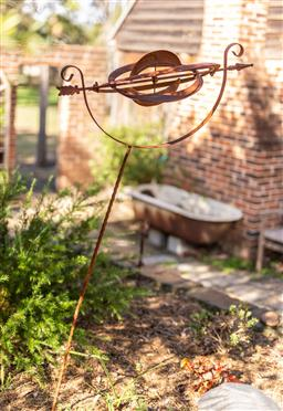Sale 9191W - Lot 482 - A rustic weather vane in the form of a sphere. H.180cm