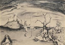 Sale 9237A - Lot 5044 - RUSSIAN SCHOOL Surreal Landscape, c1960 ink 28 x 39.5 cm (frame: 42.5 x 44 cm) signed lower right