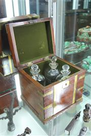 Sale 8151 - Lot 23 - Vintage Mahogany Box with Decanters