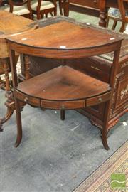 Sale 8267 - Lot 1045 - George III Mahogany Corner Washstand, with lower shelf fitted with a drawer (restoration to top)