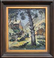 Sale 8301 - Lot 599 - John Eldershaw (1892 - 1973) - Mountain Cottages 52.5 x 48cm