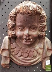 Sale 8444 - Lot 1005 - Antique Carved Oak Head of a Cherub, with drapery below