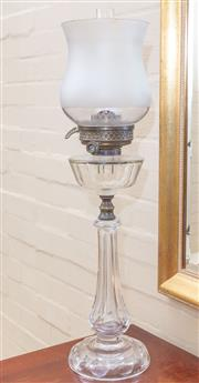 Sale 8550H - Lot 111 - A Victorian glass kerosene lamp with silver metal fittings and frosted shade (rim chips), H 78cm