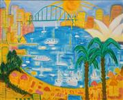 Sale 8682 - Lot 2006 - Ula Richardson - Summer, Sydney Harbour, oil on canvas, 75 x 90cm, signed lower right -