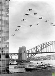 Sale 8721A - Lot 43 - Artist Unknown - Planes above Sydney Harbour Bridge, NSW 1959 30 x 22cm