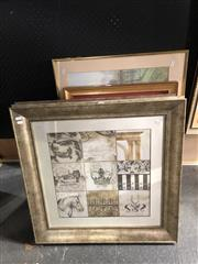 Sale 8779 - Lot 2067 - 4 Assorted Artworks including Chinese Silk Embroidery and Decorative Prints, various sizes