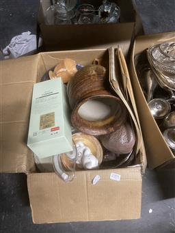 Sale 9101 - Lot 2391 - 2 Boxes of Sundries Including Plated Wares Glass and Ornaments