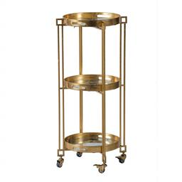 Sale 9140F - Lot 200 - A polished gold iron cart with 3 tiers, locking wheels and removable trays. Dimensions: W47 x D47 x H99 cm
