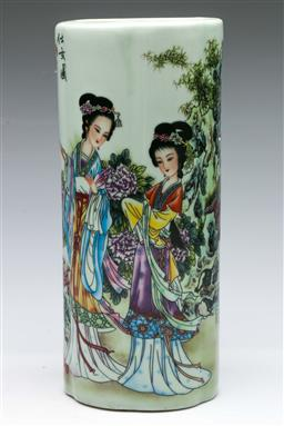 Sale 9164 - Lot 257 - A porcelain Chinese cylindrical vase featuring characters (H:28cm)