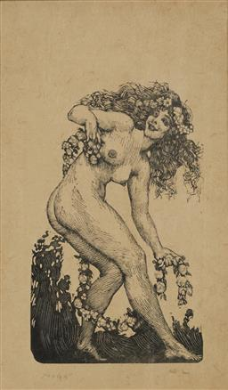 Sale 9178 - Lot 568 - NORMAN LINDSAY (1879 - 1969) woodcut 12.0 x 7.5 cm initialled and numbered below image Untitled (Nude with Flower Garlands) woodcut,...