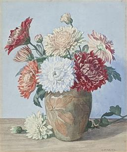 Sale 9237A - Lot 5001 - ALBERT EDWARD HAYES (1879-1968) (ENGLISH) Chrysanthemums, c1920 watercolour and gouache 31 x 23 cm (frame: 47 x 38 cm ) signed lower...