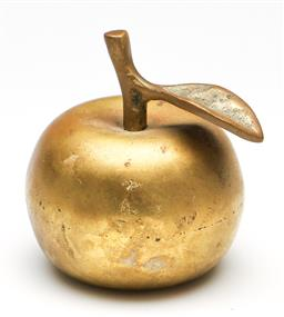 Sale 9246 - Lot 78 - A brass figure of an apple that doubles as a bell (H:6.5cm)