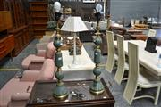 Sale 8013 - Lot 1441 - Pair Of Green Marble Table Lamps On Brass Supports