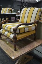 Sale 8087 - Lot 1051 - Pair of Early 20th Century Oak Plantation Armchairs w Ladder Backs & Cushions Seats