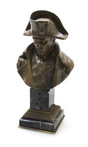 Sale 8202A - Lot 91 - An antique French cast bronze bust of Napoleon Bonaparte on green marble base, signed to back 'Pinedo', H 25cm