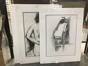 Sale 8730 - Lot 2091 - Group of (4) charcoal and pastel Nude Studies by Val Landa (mounted/unframed)