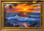 Sale 8753 - Lot 2059 - Artist Unknown - Island Sunset acrylic on board, 75 x 106cm (frame) -