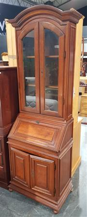 Sale 8971 - Lot 1028 - Georgian Style Slender Mahogany Bureau Bookcase with two glass panelled doors above bureau base on bun feet (H:200 x W:66 x D:41cm)