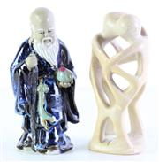 Sale 8989F - Lot 632 - Composite Besmo figural group (H20.5cm) together with a Chinese elder figure (H21cm, loss to staff)