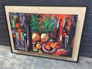 Sale 9004 - Lot 2006 - J. Chikar  A Vintage Still Life and Interior Scene decorative with hand-painted highlights (h:81 x w:112cm)