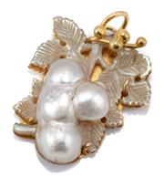 Sale 9054 - Lot 391 - AN ANTIQUE 18CT GOLD PEARL PENDANT; featuring an 18.4 x 12.5mm cultured baroque blister pearl on a carved mother of pearl ground, si...