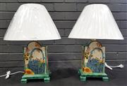 Sale 9043 - Lot 1006 - Pair of Square Wooden Table Lamps - 3206