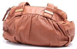 Sale 9145 - Lot 395 - SEE BY CHLOE HANDBAG; tan perforated leather, gold tone hardware zip top closure and external side slip pockets, fabric lining with...