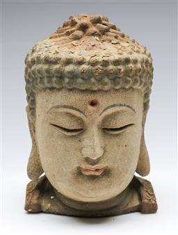 Sale 9164 - Lot 87 - A carved timber buddha head (H:24cm)