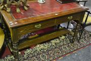 Sale 8058 - Lot 1020 - Edwardian 2 Drawer Desk with Leather Top