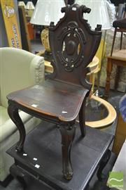Sale 8255 - Lot 1092 - Victorian Carved Mahogany Hall Chair, with pierced scroll back, seat & cabriole legs (crack / loose)