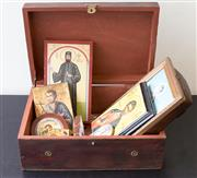 Sale 8310A - Lot 63 - A Brass decorated timber box containing contemporary icons, W 39cm