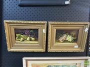 Sale 8548 - Lot 2114 - 2 Works: Pair of Framed Still Life Works, Oil on Wood, unsigned