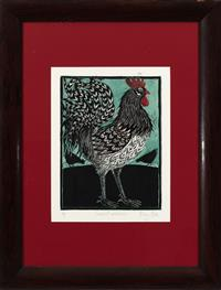 Sale 8934H - Lot 11 - Mary Hick, Cockerel and Hens, woodblock, artists proof, frame size 75cm x 59cm