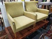 Sale 8934 - Lot 1038 - Pair of Modern Fabric Upholstered Lounge Chairs