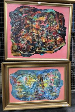 Sale 9135 - Lot 2018 - Valda Morris (2 works) Nude Figures In Metropolis & Abstract Landscape oil on boards, frame; 60 x 71 cm and 49 x 72 cm, signed