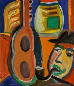Sale 9216A - Lot 5006 - SARAH FAULKNER (1959 - ) Man with Pipe & Guitar, 1993 acrylic on linen 69 x 60 cm (frame: 82 x 72 x 3 cm) signed and dated lower rig...