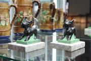 Sale 8151 - Lot 6 - Marble Based Pair of Scottie Dog Bookends