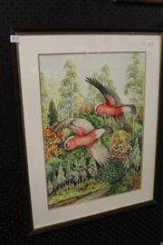 Sale 8282A - Lot 24 - Charles A. Newman (1913 - ) - Galahs In Flight 49 x 35cm