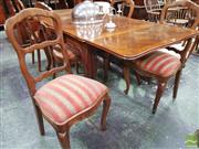 Sale 8444 - Lot 1094 - French Style Dining Suite, including oak parquetry top draw-leaf table & six carved beech ladder back chairs