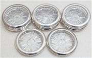 Sale 8800 - Lot 255 - A collection of eight Italian crystal coasters with EP rims, D 10cm