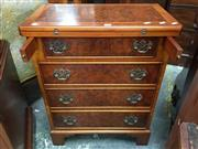 Sale 8666 - Lot 1036 - Georgian Style Walnut Chest of Four Drawers with Fold-Over Top, of small proportions, by Caeden & Mayhew, the top and drawer faces i...