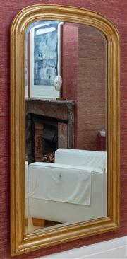Sale 8741A - Lot 45 - An arch top bevelled edge mirror with gilt timber frame, H x 162cm x 91cm
