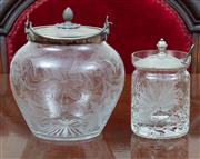 Sale 8908H - Lot 47 - An EP lidded cut glass biscuit barrel and a cut glass jam, Height of tallest 17cm