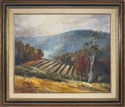 Sale 9091 - Lot 2020 - Terry Gleeson (1934 - 1976) Cultivated Land, Matchem Valley oil on canvas board, frame: 61 x 71cm, signed -