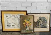 Sale 9077 - Lot 2049 - Group of (3) Decorative Prints: Map of Australia by John Tallis & Co; Buffed Grouse by J Audubon; Still Life M. Streckenbach -