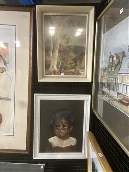 Sale 9094 - Lot 2025 - 2 Works: Albert Namatjira Decorative Print together with a Painting of an Aboriginal Boy Crying