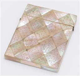 Sale 9180E - Lot 47 - A mother of pearl framed card case with floral designs, Length 10.5cm x 8cm