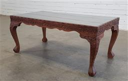 Sale 9166 - Lot 1063 - Carved timber coffee table with glass top (h43 x w100 x d53cm)
