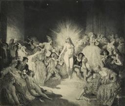 Sale 9178 - Lot 571 - NORMAN LINDSAY (1879 - 1969) - Life in the Temple,1937 30.5 x 35.5 cm (frame: 48 x 65 x 2 cm)